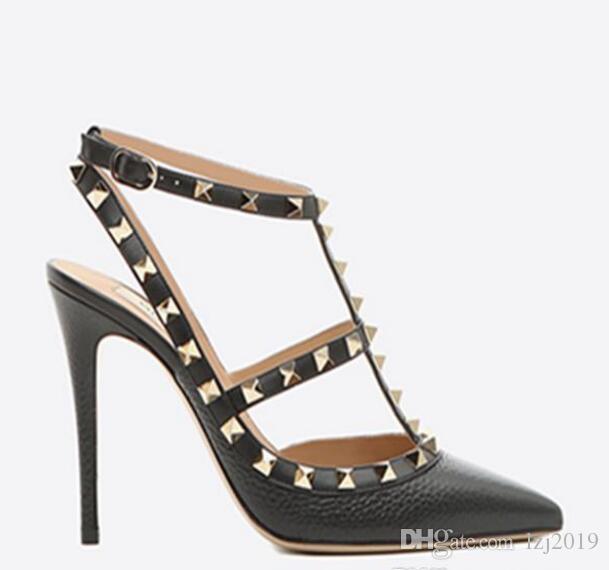 актуальная обувь! B003 на заказ 34/40/41/42 натуральная кожа черный ремешок заостренный каблуки туфли на высоком каблуке сандалии роскошный дизайнер