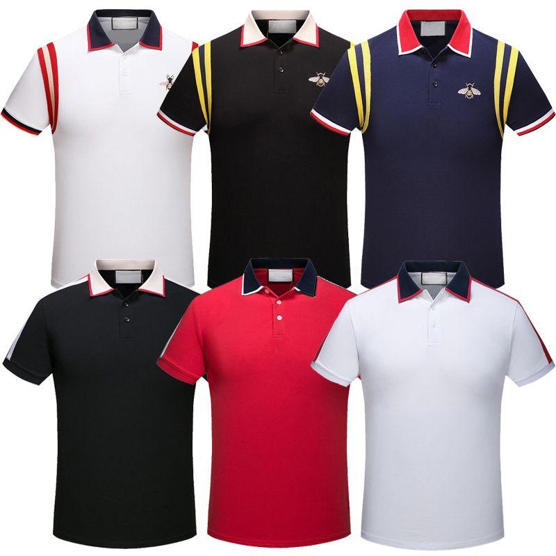 Itália Designer Homens Camisas Polo de Manga Curta Cobra Abelha Floral Bordado Mens Camisa Polo Moda Casual Pólo Camisa