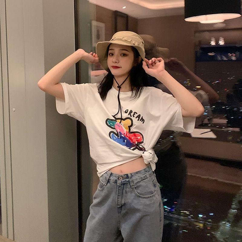 De verano de Corea 2020 nueva pareja suelta bfstyle graffitis Camiseta del oso de dibujos animados novias camiseta de manga corta para los estudiantes de sexo femenino