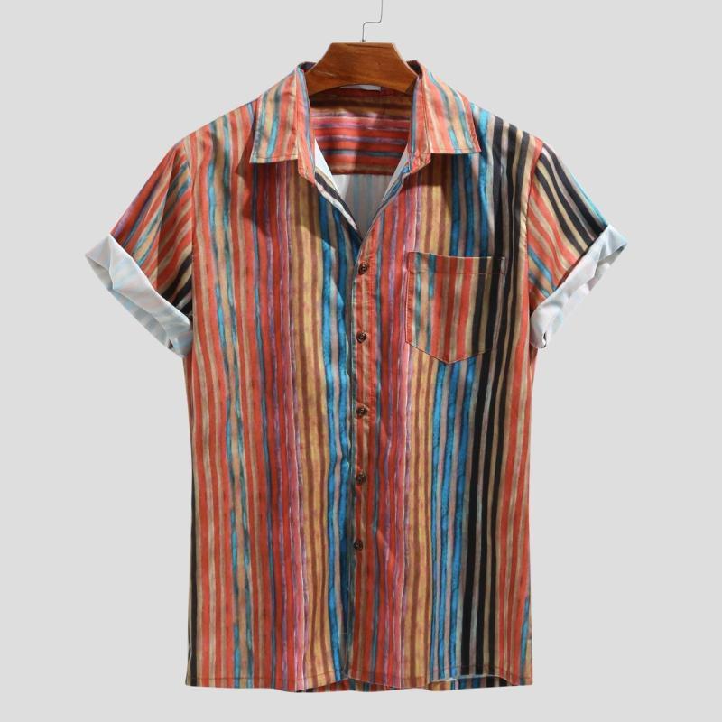 Stripe Chemise homme Top été Mode casual colorés manches courtes boutons décousus Casual Shirt plage camisas Chemisier streetwear #