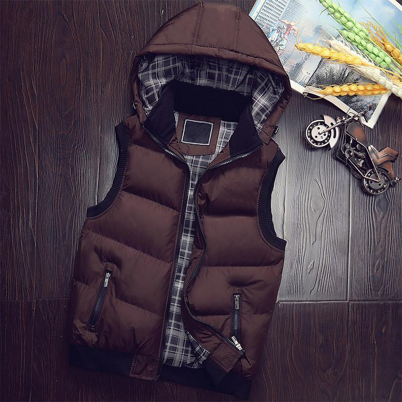 Quente Casual Brasão Masculino Vest casacos sem manga Mens alta qualidade Casual New inverno com capuz Vest Men Hat destacável Homme Plus Size M-5XL