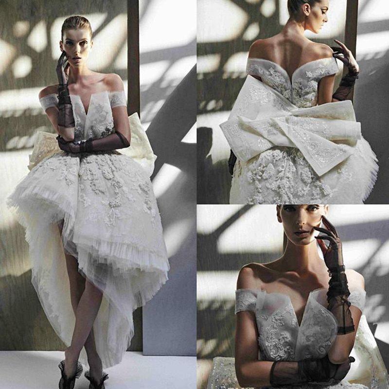 Haut Bas Princesse Robes De Mariée 2020 Designer Dentelle Broderie Florale Ashi Studio Hors Épaule Plus La Taille Robe De Mariage De Mariée