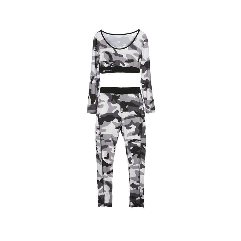 Aktive Damenmode-dünne beiläufige lange Hülse dünne Hemd übersteigt Camouflage Print Hosen Sportwear Set Workout Fitness Leggings