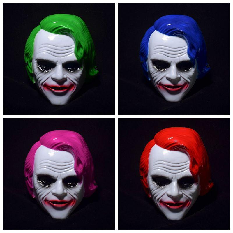 Adultos máscara de palhaço Máscaras de plástico Máscara Facial Filme Cosplay Joker Com máscaras de carnaval Azul Verde Cabelo Vermelho Halloween Masquerade VT0949