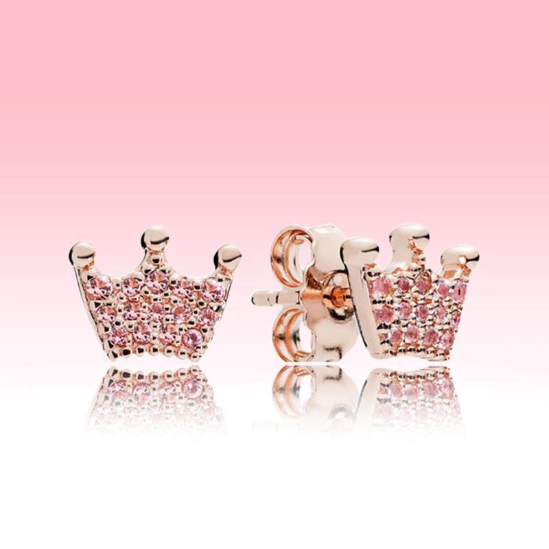 الوردي تاج أقراط صغيرة لطيف المرأة الصيف المجوهرات روز الذهب القرط مع المربع الأصلي لبندرا 925 الفضة الاسترليني القرط