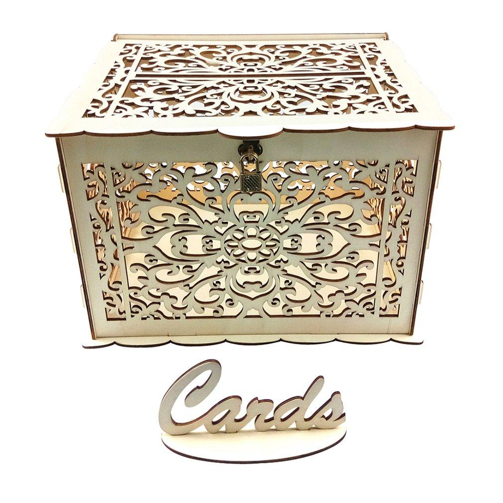 2020 Diy Rustic Wedding Card Box With Lock And Card Sign Wooden