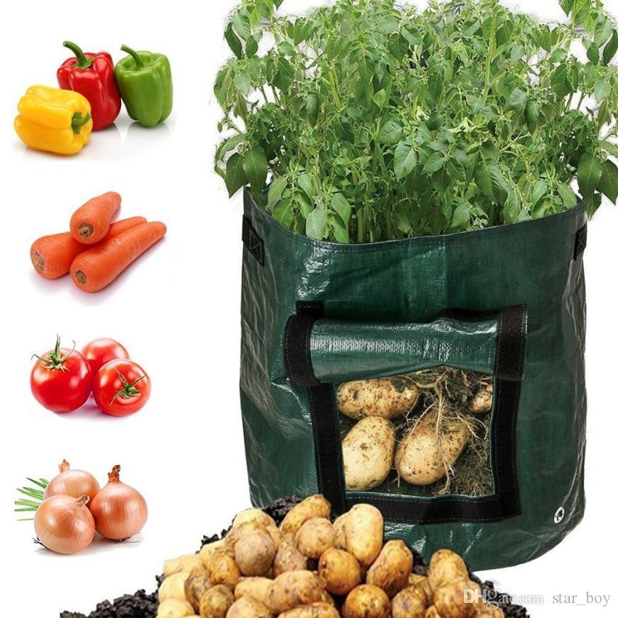 7 Gal / 10 Gal Potato Planting Grow Bag Grow Planter PE Cloth Planting Container Bag Vegetable Gardening Jardineria Thicken Garden Pot