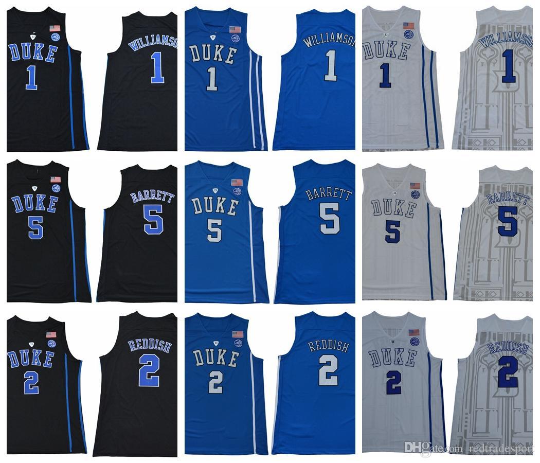 2019 Duke Blue Devils College Pullover di pallacanestro New Black White Blue 1 Zion Williamson 2 Cam Reddish 5 R. J. Barrett RJ Camicie cucite