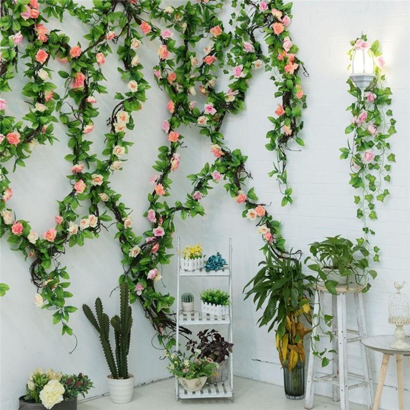 Silk Rosen Ivy Blume Wand Vine Künstliche Blumen grüne Girlanden für Home Hochzeit Garten Dekoration Hängen Garland Dekor Rattan