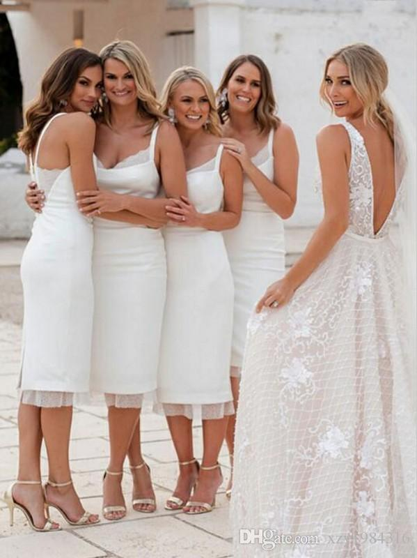 2019 New Arrived Bridesmaid Dresses Simple White Spaghetti Strap Country Bridesmaid Dresses Tea Length Maid Of Honor Dresses Free Shipping