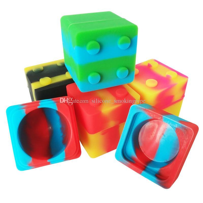 3pcs / lot 9 ml mini forma de cubo de silicona Envase Para limanda El protegido de grado alimenticio Contenedores Dab Cera Concentrado antiadherente Tarros