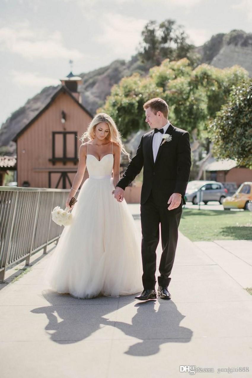 Sahil Gelinlik Yeni Sevgiliye Dantel Korse Korse Spagetti Sapanlar Tül Gelinlikler Vestido de evlilik