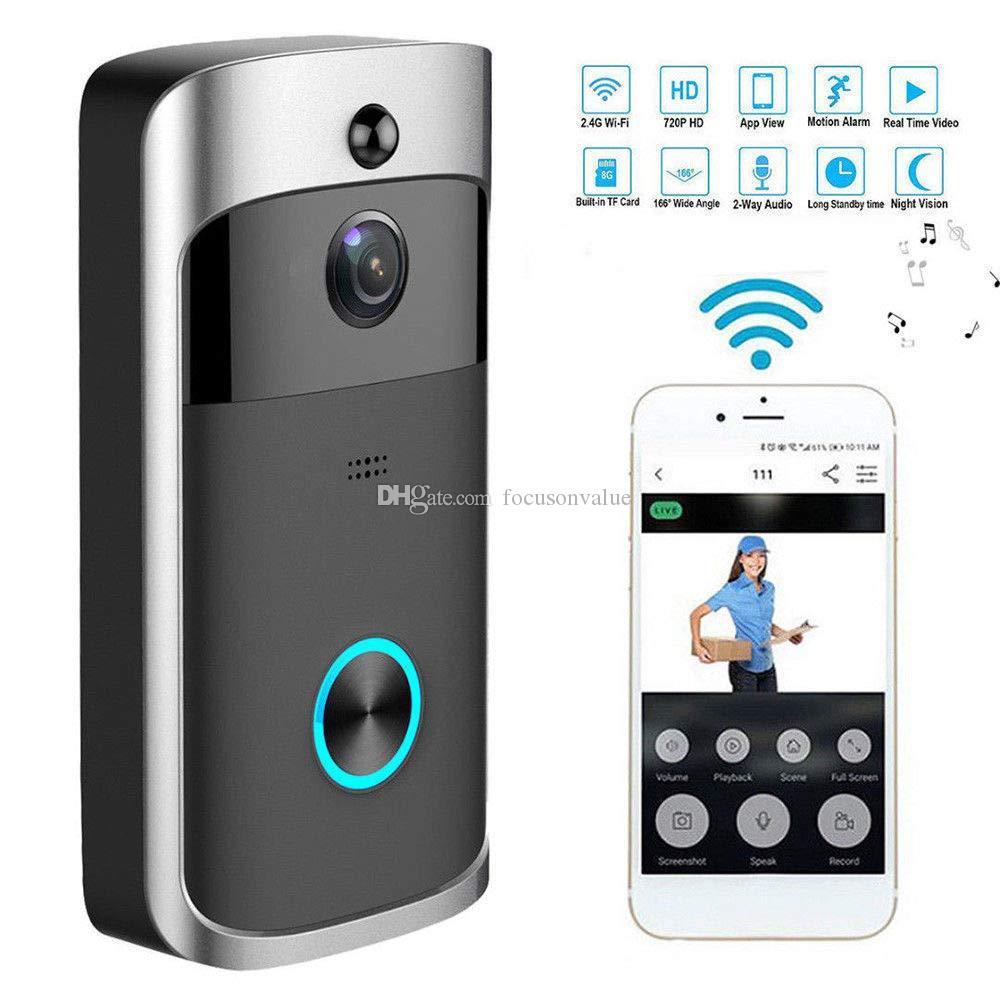 V5 Smart WiFi-Video-Türklingel-Kamera HD 720P Visuelle Gegensprechanlage mit Ging-Nachtsicht-App-Steuerung Home Security IP-Kamer