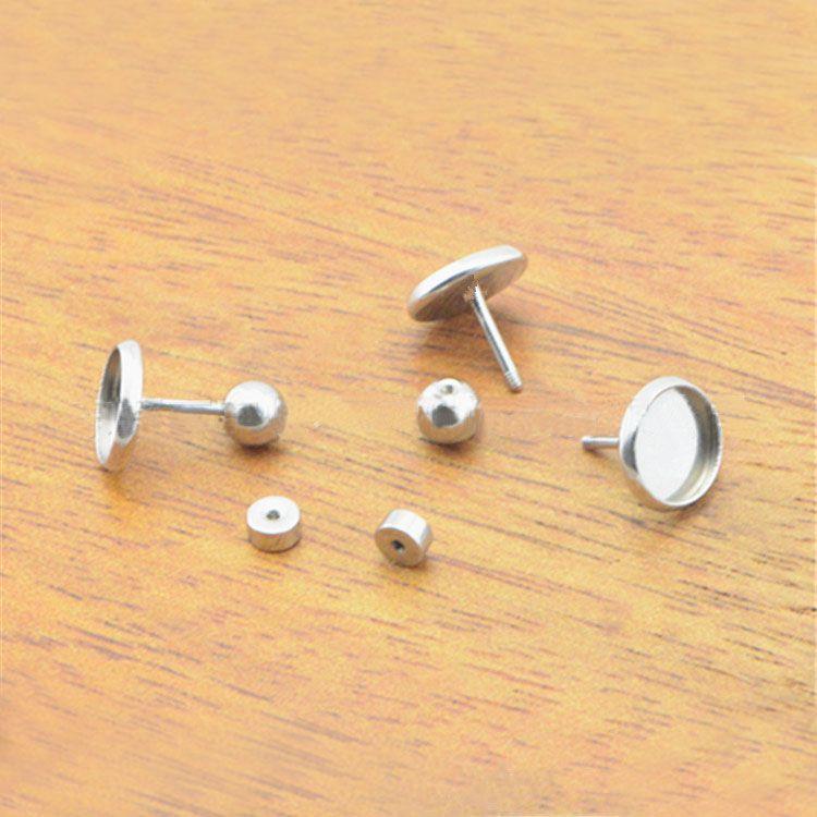 Stainless Steel Earrings Post Screwback Stoppers Bases Round Bezel tray 8mm 10mm Cabochons Ear Pins Stud Earrings Findings DIY
