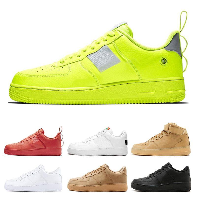 nike air force 1 Dunk 1 yardımcı Erkek Kadın Koşu Ayakkabıları tüm Siyah Beyaz Spor Kaykay Yüksek Düşük Kesim Buğday Kahverengi Eğitmenler Sneakers boyutu 36-45