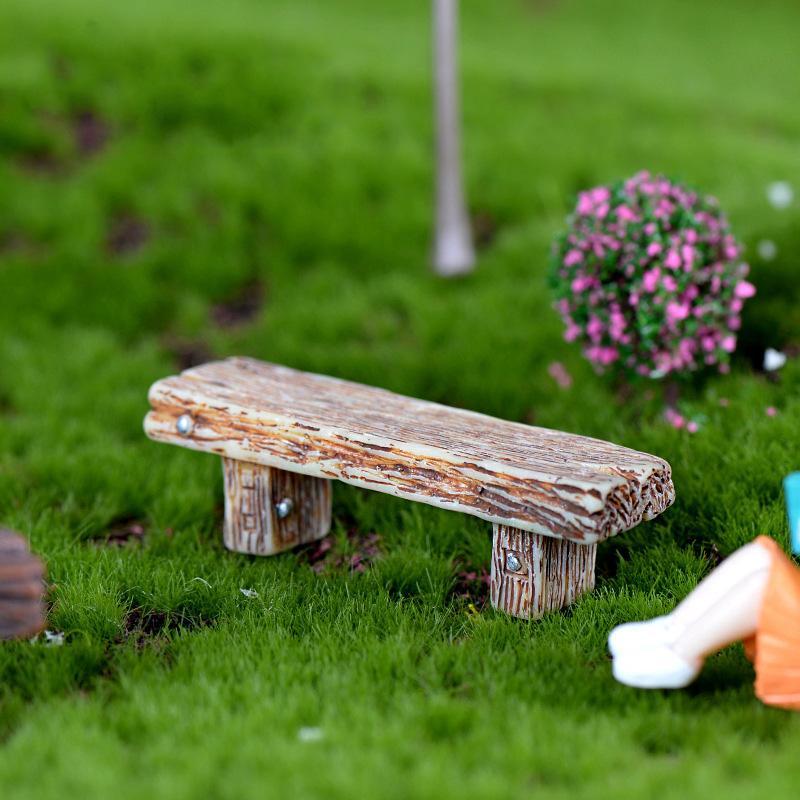 30pcs 긴 목재 벤치 소형 입상 요정 정원 DIY 액세서리 인형 하우스 장식 만화 동물 모델 플라스틱 소녀 장난감
