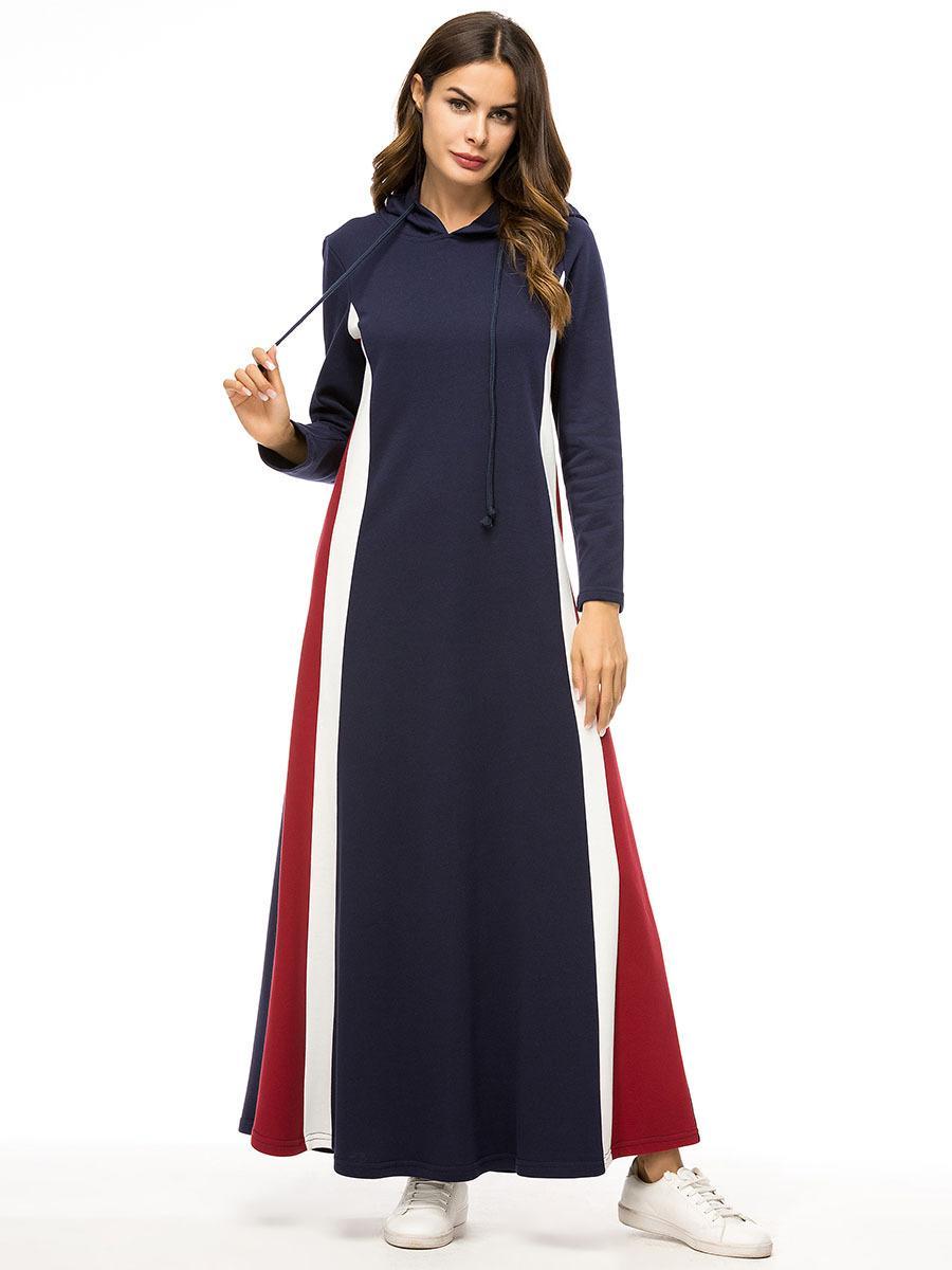 Bangladesh Dubai Abaya del traje de las mujeres más el tamaño de la ropa islámica Kaftan largos ocasionales ropa de vestir con capucha musulmanes Hoofddoek Moslima