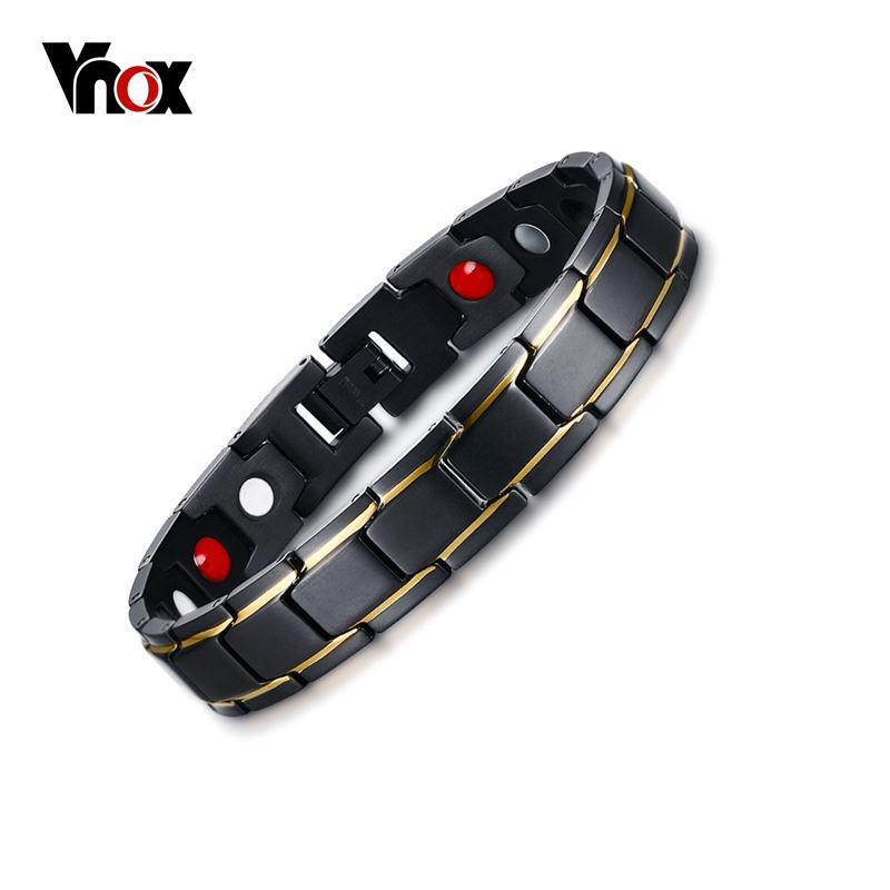 Vnox titanio puro pulsera de la terapia magnética para el alivio del dolor de la artritis y del túnel carpiano hombres joyería