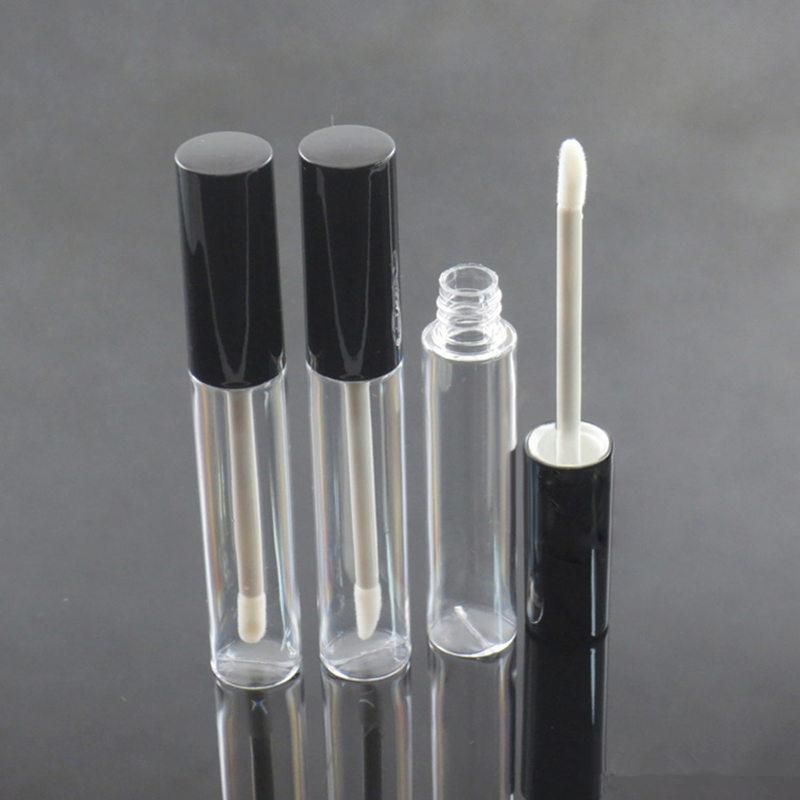 10ML إفراغ زجاجة ملمع الشفاه الشفاه الحاويات النفط ملمع شفاه فيال إفراغ جولة ملمع الشفاه أنبوب التعبئة مع الأسود الفضة كاب EEA1555