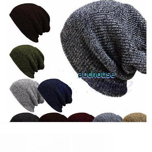 Free Shipping Spring Fall Winter Casual Cotton Knit Hats For Women Crochet Slouchy Oversized Ski Cap Men Baggy Beanie Hat Warm Street Hats