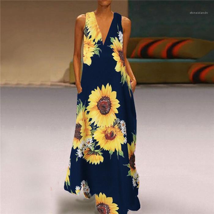 Tamaño largo del partido del vestido femenino de la playa Vestido de tirantes Plus vestido de las mujeres con cuello en V sin mangas floral del verano de Bohemia Casual
