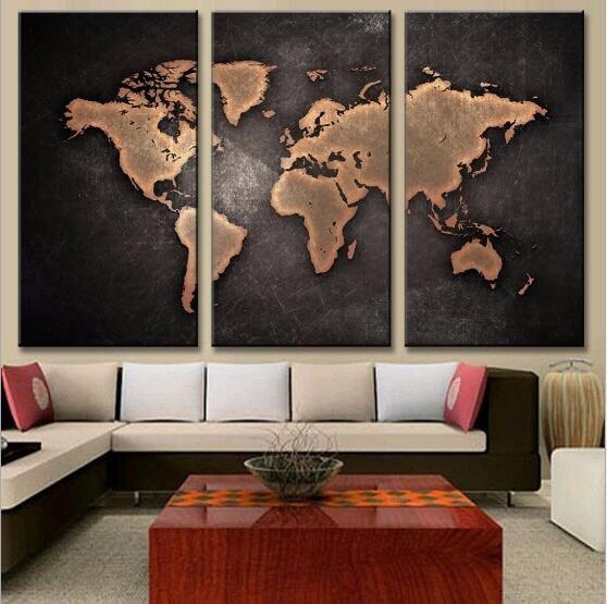 لوحات hd مجردة قماش ل غرفة المعيشة جدار الفن المشارك 3 أجزاء خريطة العالم الرجعية الديكور صور وحدات لا الإطار