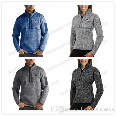 2019 пуловер Hoodie Сент-Луис Блюз Колорадо Эвеланш Ванкувер Кэнакс Толстовка Mens женщин Pro Clutch Quarter-Zip пуловер Jacket