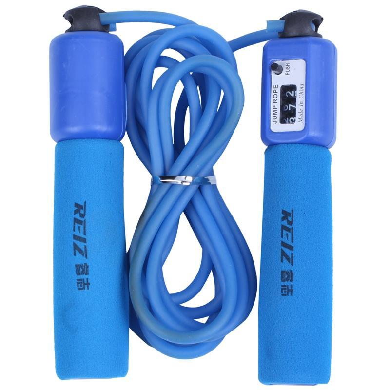 REIZ Fitness Equipment Handle Sponge ajustável Rope Jumping Musculação exercício do rolamento de Rope Skipping 393 azul