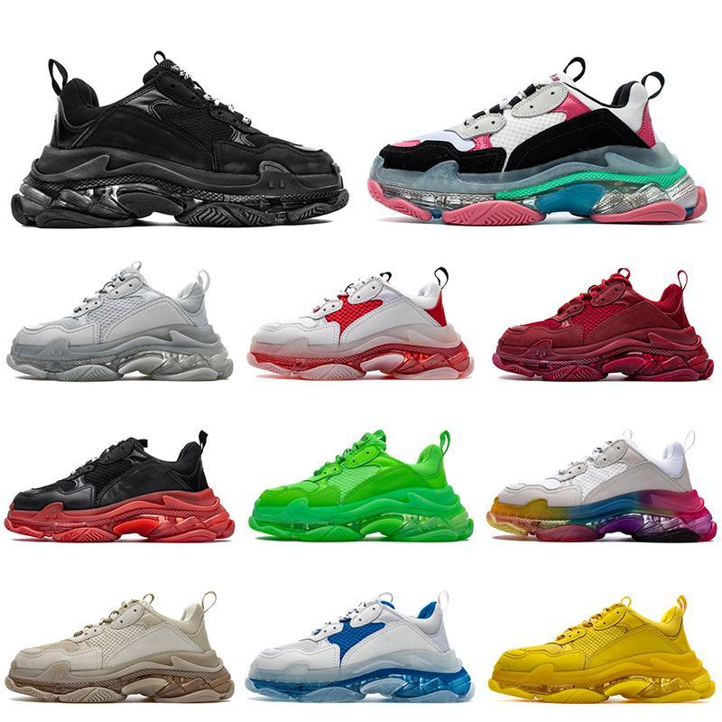 Designer de luxo 17FW Triple S adiciona um claro bolha Midsole Homens Mulheres Sports Sneakers de néon verde do arco-íris sapatos do pai Casual Drop Shipping