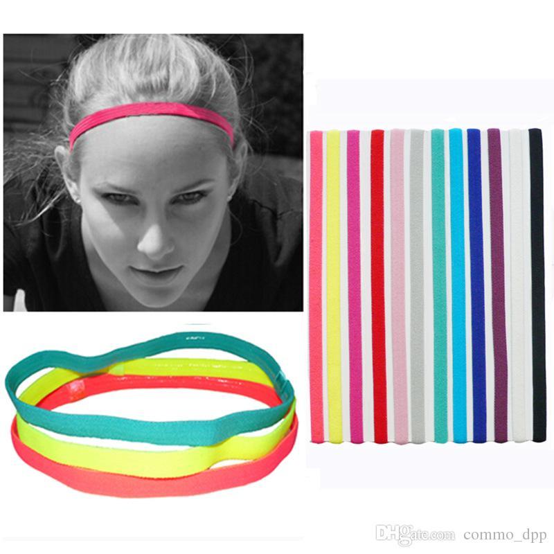 Donne Sport fascia di colore della caramella semplice elastico Hairband Yoga assorbimento dell'umidità Solid accessori della sciarpa dei capelli per gli uomini all'aperto gioielli fazzoletto