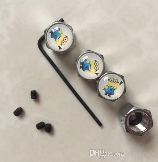 Minion verrouillables Couleur Noir bouchons de valve anti-vol Dust Cap Tire Badges Emblèmes