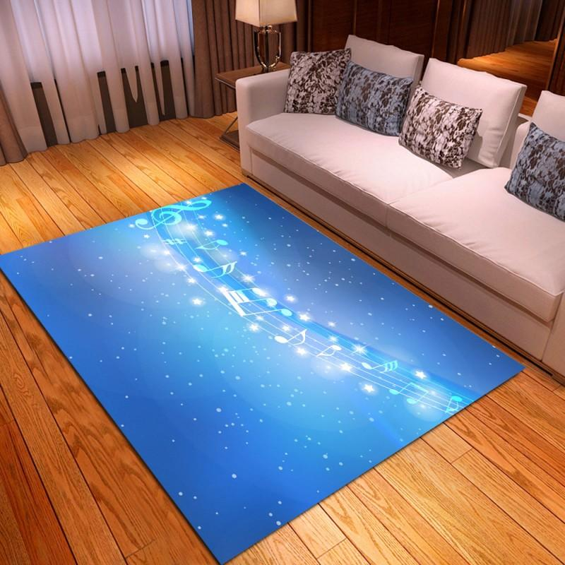 Music Note Polyester Floor Mats Rugs for Living Room Bedroom Guitar Flame Print Carpet Area Rugs Kids Playing Mats for Home