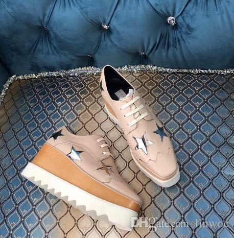 Elegantes zapatos de moda Estrellas Mujeres Espesor los calzados informales de lujo de la tendencia zapatos de las cuñas Comfort Señora de envío fresco libre del cuero auténtico
