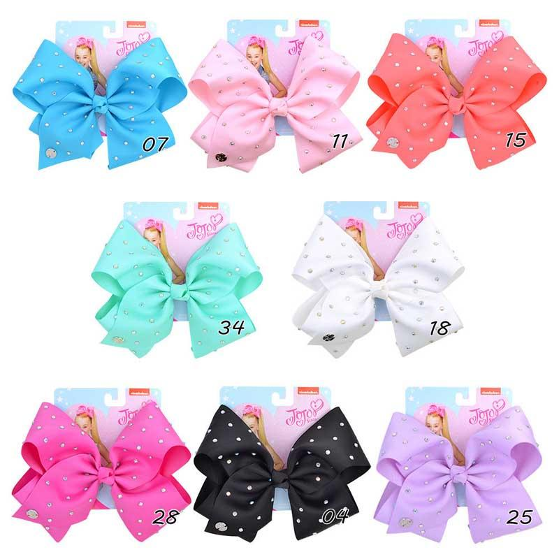 """INS JOJO Hair Bows 8 Colors 6.6"""" Girl Rhinestone Solid Colors Barrettes Girl Hair Accessories kids party hair clipper"""