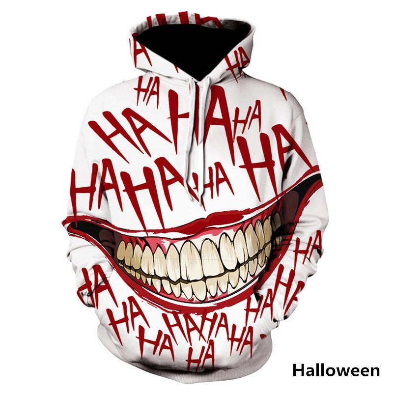 HAHA Joker Komik Hoodie Cadılar Bayramı Çılgın Kazak Uzun Kollu Kazak Moda Stree Coats Serin Unisex Sportwear Gülümseme