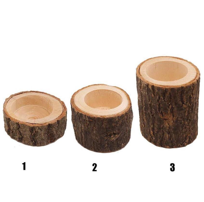 Nuevo diseño de pilares de tealight candelero candelero mini maceta maceta para la barra de casa jardín de madera candelabros de madera decoración 3 tamaño regalos de Navidad