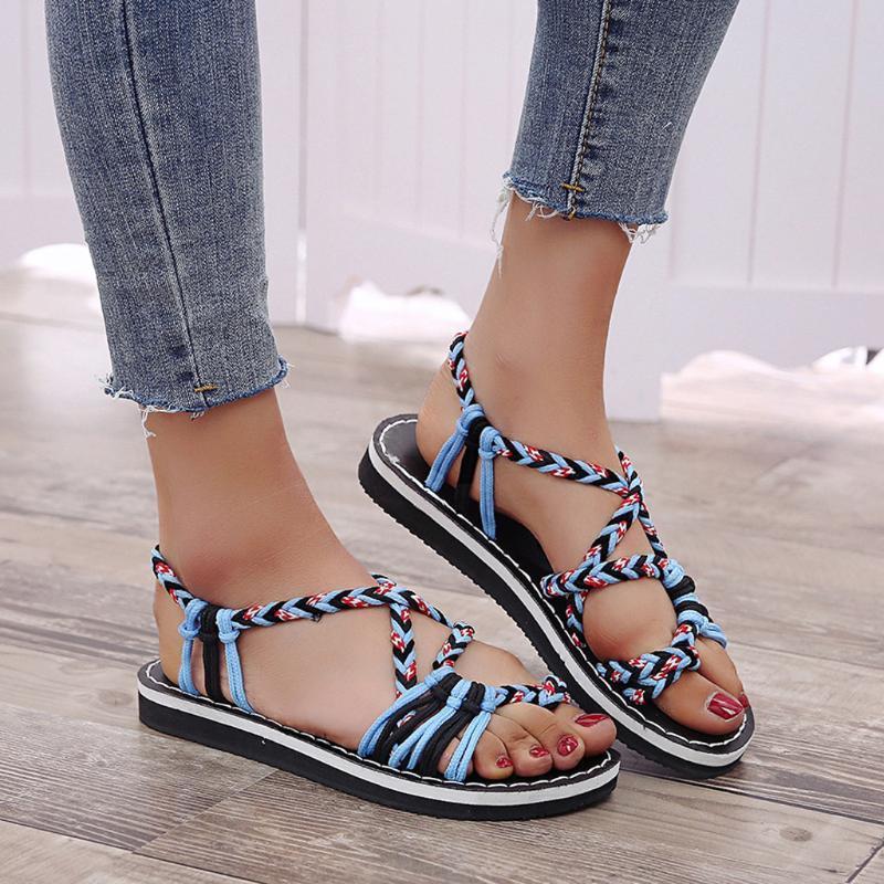 Женские сандалии летняя обувь веревка шлепанцы сандалии летняя мода чешские плоские римские пляжные туфли chaussures femme