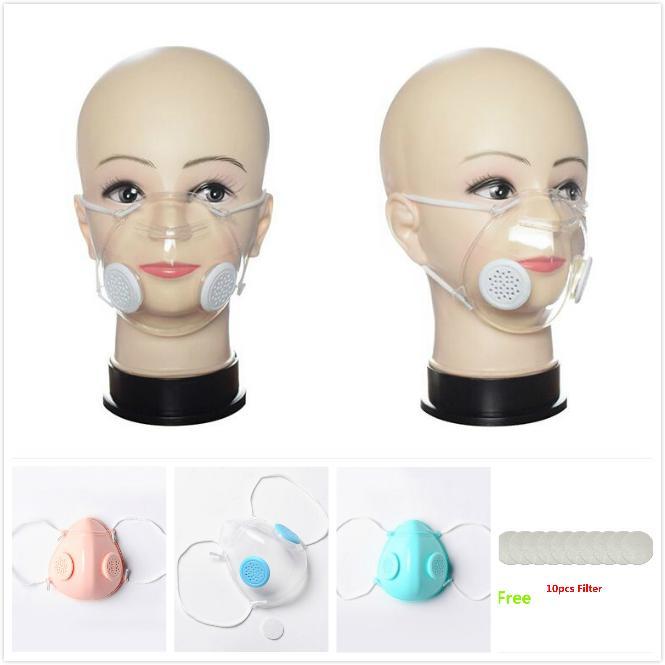 Cara máscara transparente de la válvula PP Clear Máscara de respiración con doble Máscaras de la válvula anti-polvo lavables sordomudo Máscaras de diseño libre 10pcs Filtrar