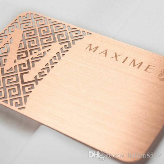 (100pcs / lot) cartes de visite en métal en acier inoxydable brossé or rose