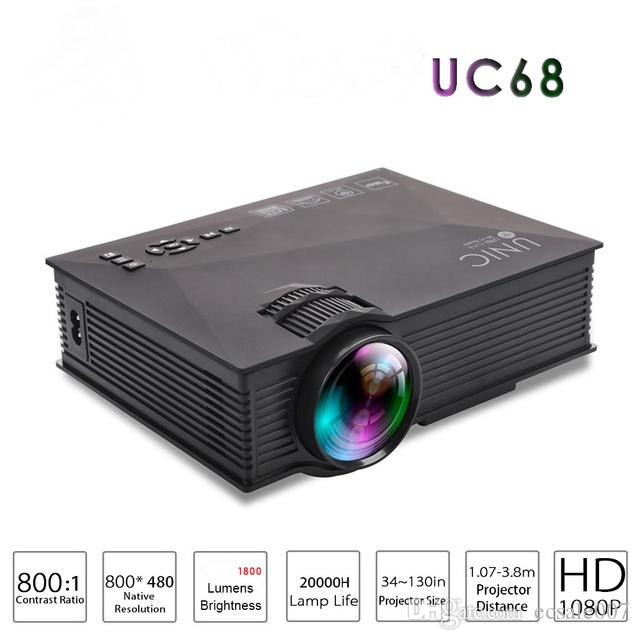 원본 UNIC UC68 AirSharing 극장 멀티미디어 프로젝터 Mini-led 프로젝터, 풀 HD 1080p 비디오
