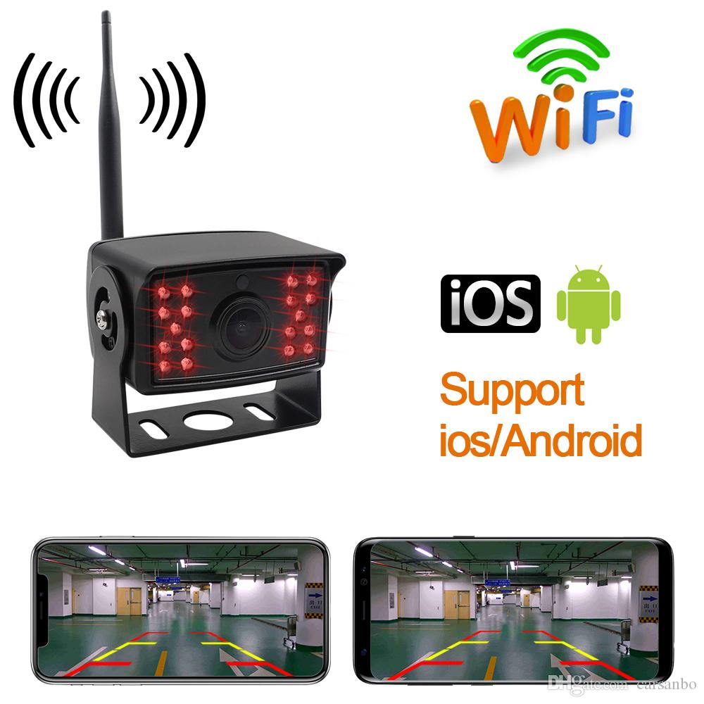 WIFI de inversión sin hilos Cámara de visión trasera del autobús camión de remolque de camión RV Camper prueba de golpes sistema de imagen del coche a prueba de agua de marcha atrás