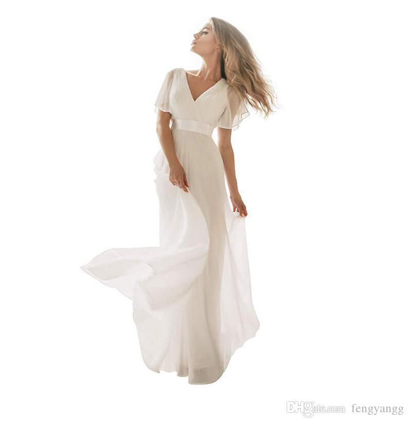 أنيقة الخامس الرقبة فساتين زفاف طويلة بسيطة الأبيض العاج اللباس مع الأكمام قصيرة الشريط حزام الشيفون الطابق طول ماكسي أثواب الزفاف