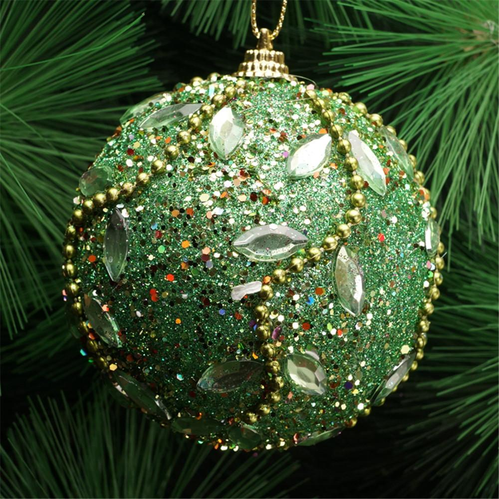Christmas Rhinestone Glitter Baubles Balls Xmas Tree Ornament Decoration 8CM Christmas Decorations For Home
