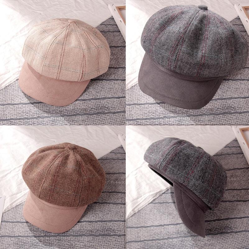 Manera de las mujeres sombrero de la boina Impreso retro Marina de la cabeza del sombrero abrigo de la bufanda tapa superior sombreros de la manera muchachas de los sombreros de las existencias