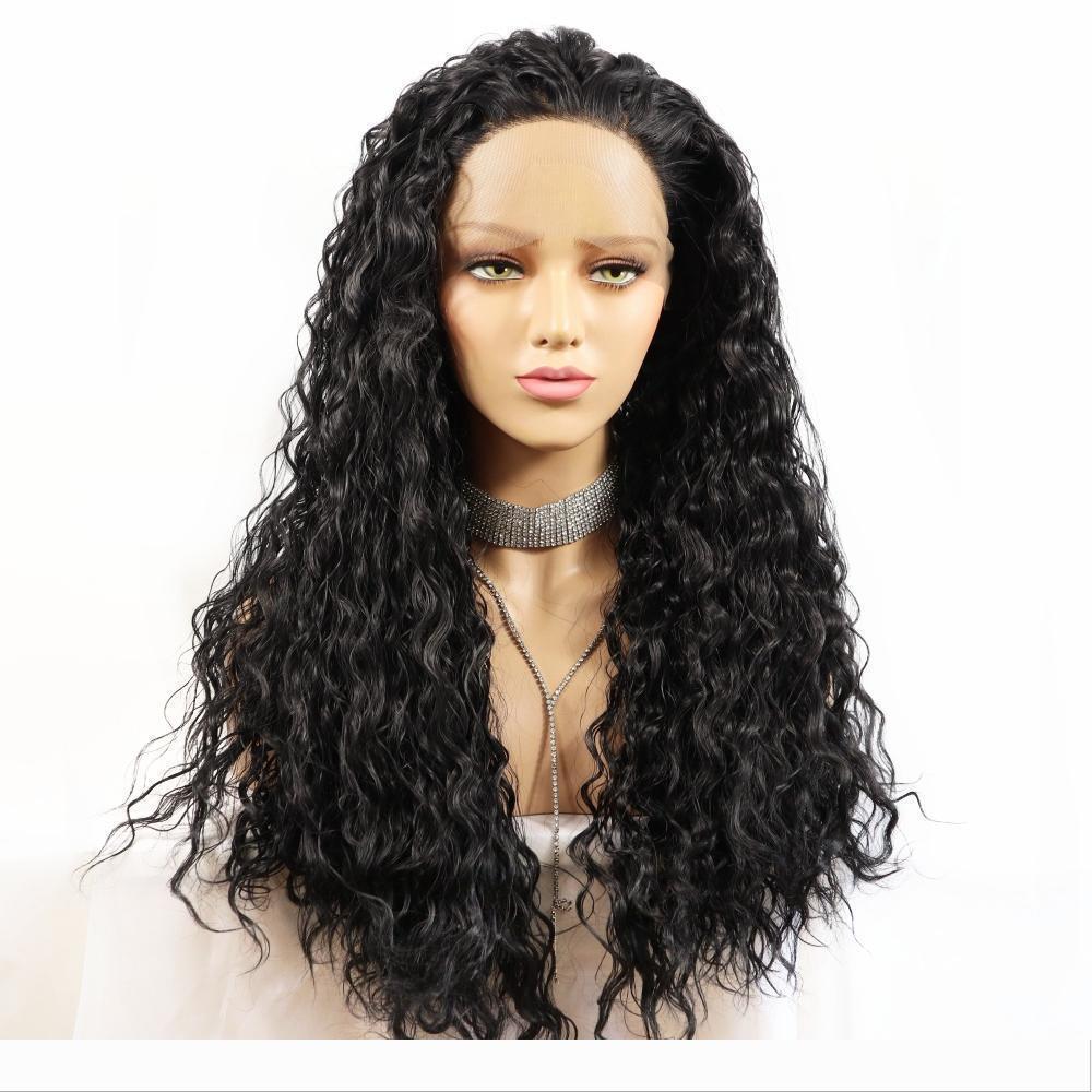 Лучшие моды Черный Длинные кудрявый парик 180% Плотность Высокая температура волокна волос Glueless Синтетический волна воды фронта шнурка для женщин