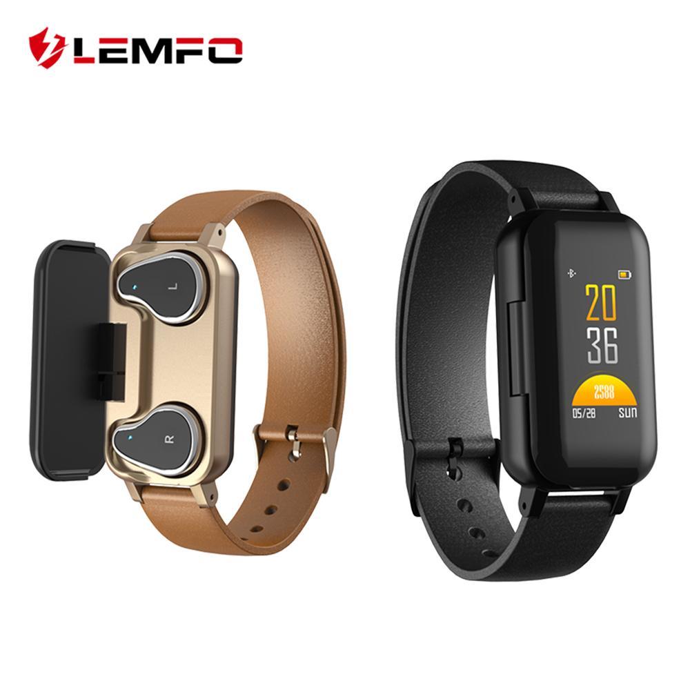 Multifunción Inteligente Binaural Bluetooth Auriculares Pulsera de Fitness Monitor de Ritmo Cardíaco T89 TWS Pulsera Inteligente Reloj Deportivo Hombres Mujeres