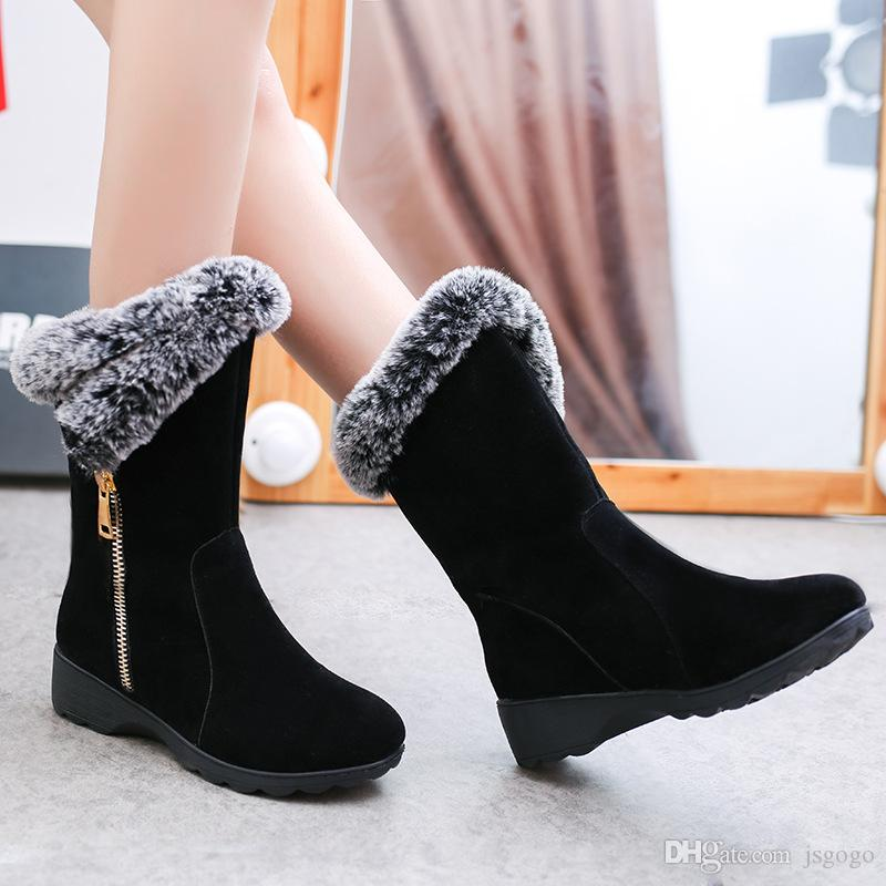 zapatos deportivos eadb4 b3688 Compre Botines De Moda Para Mujer 2018, Nuevos Estudiantes Cálidos De Tacón  Bajo En El Tubo Zapatos De Mujer Botas De Mujer De Algodón De Nieve ...