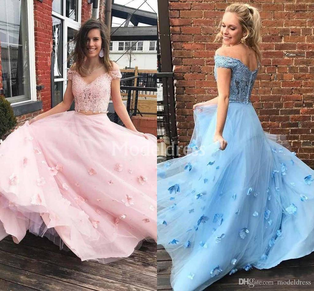 Gorgeous 2019 Two Piece Lace Pink Prom Dresses Hand Made Flower Sweep Train Charming Formal Party Evening Gowns Elegant Vestidos De Fiesta