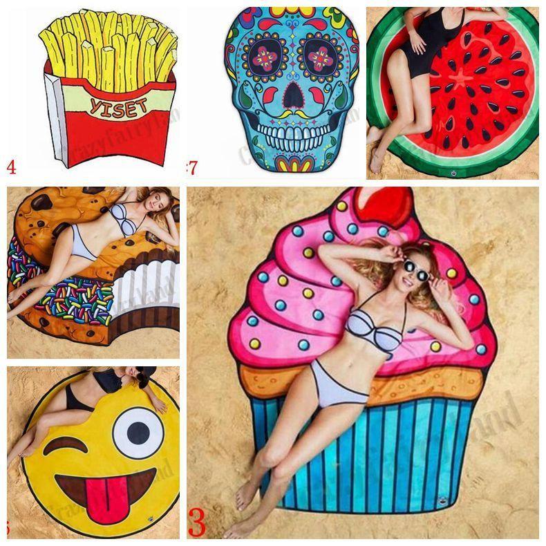 Round Beach Towels Polyester Pizza Hamburger Skull Emoji Printed Tablecloth Shower Thin Towel Blanket Beach Shawl Scarf Picnic Mat