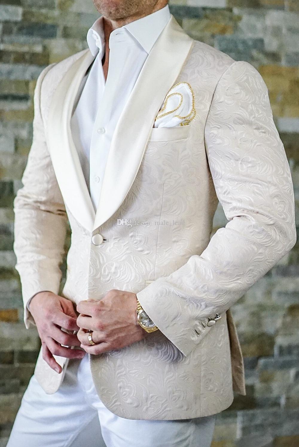 Мода тиснение жениха смокинги платок отворот жениха мужская свадебное платье мужской пиджак пиджак выпускного вечера 2 шт костюм (куртка + брюки + галстук) A07